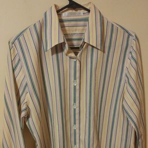 Foxcroft Wrinkle Free Striped Button Up Shirt 8